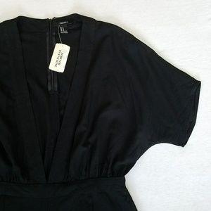 Forever 21 jumpsuit plunging neckline wide legged